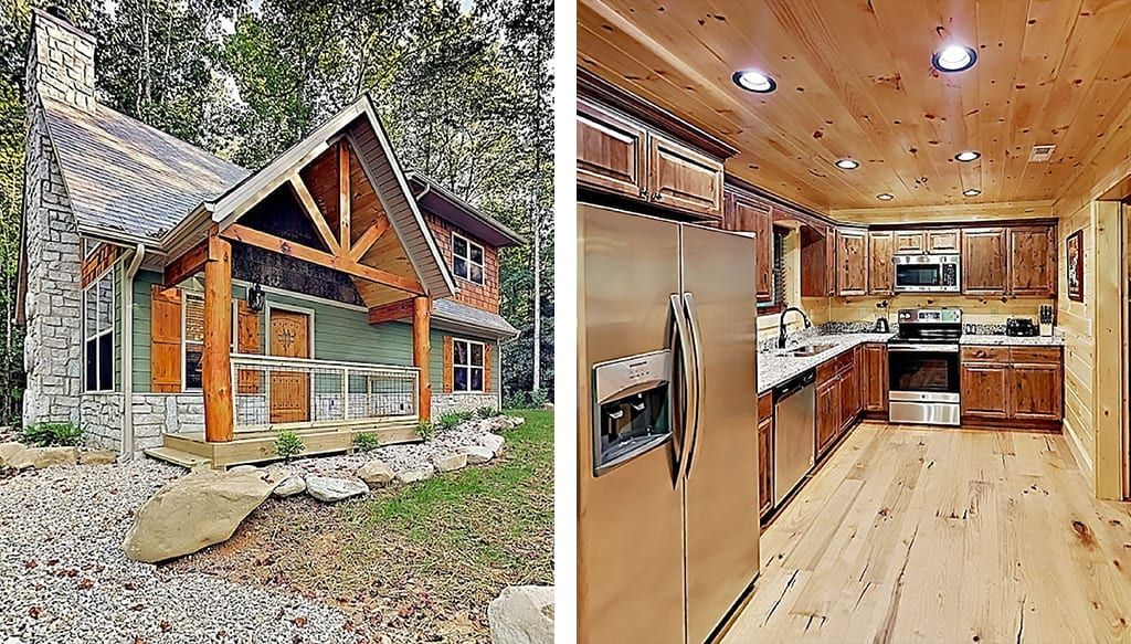 This cabin features two master suites and sits on 1.5 acres of land (photo courtesy of VRBO)