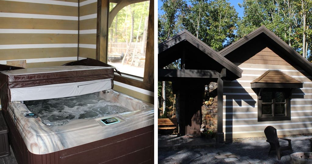 This cabin features new construction, a private hot tub and is located just minutes from the Parkway (photo courtesy of VRBO)