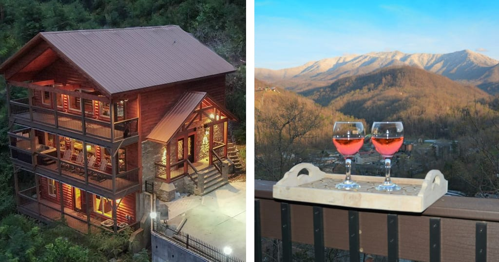 This cabin is located right behind Ripley's Aquarium of the Smokies only 1 mile from downtown Gatlinburg. Guests can enjoy mountain and city views. On holidays, guests can even watch fireworks from the Space Needle from the comfort of their private balcony (photos courtesy of Always A View/VRBO)