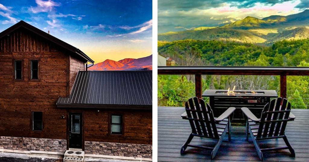 Three Oaks Cabin features incredible views and 3 king master bedrooms each with their own en suite (photos courtesy of Three Oaks Cabin/VRBO)