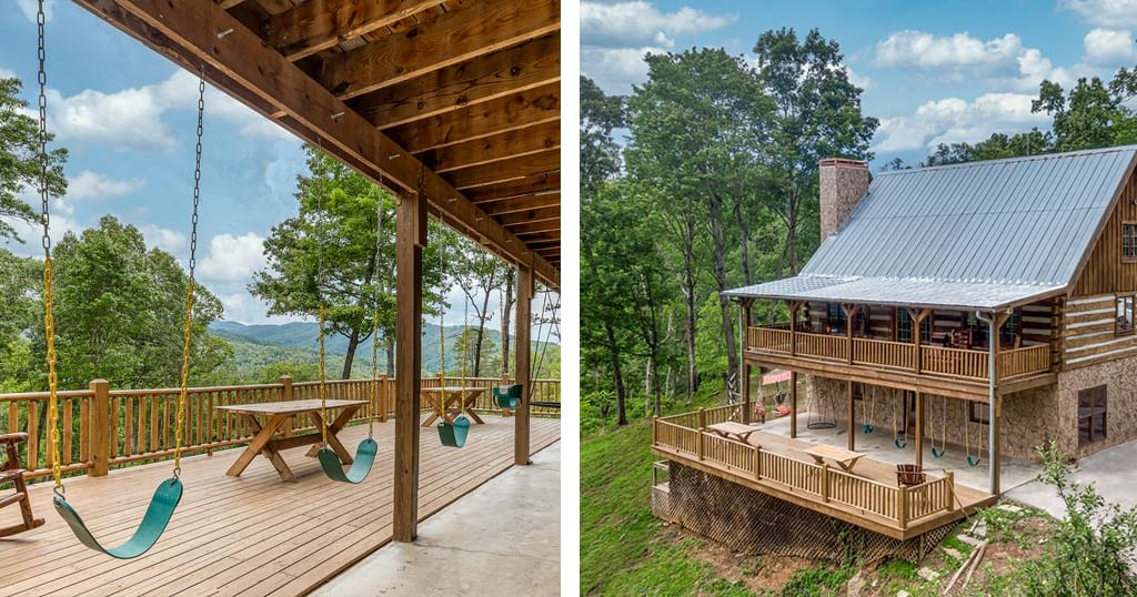 Have a swing in the clouds on this built-in balcony swing set for kids and adults (photos courtesy of Hand Hewn Haven/VRBO)