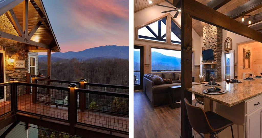 """We are in love with the """"Sky Bridge"""" entrance at Sky Bridge cabin (photos by Sky Bridge Cabin/VRBO)"""