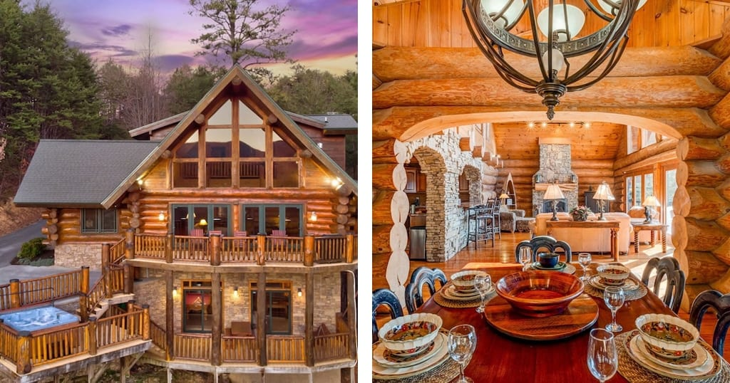 This 2-foot diameter log work is a rare find in a lodge that's less than 3 miles from Gatlinburg city center (photos courtesy of Dancing Bear Retreat/VRBO)