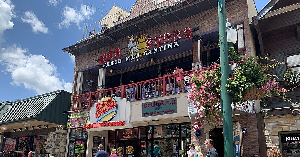 The Loco Burro is located in the middle of downtown Gatlinburg and features a rooftop patio for dining and 'margs' (photo by Morgan Overholt/TheSmokies.com)