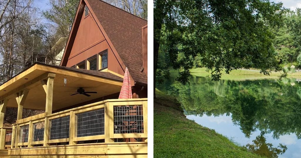 There aren't a lot of lakes in the Smokies - but this Cabin 'Lakehouse' - located conveniently next to a man-made catch and release lake might just be the next best thing (photos courtesy of VRBO)