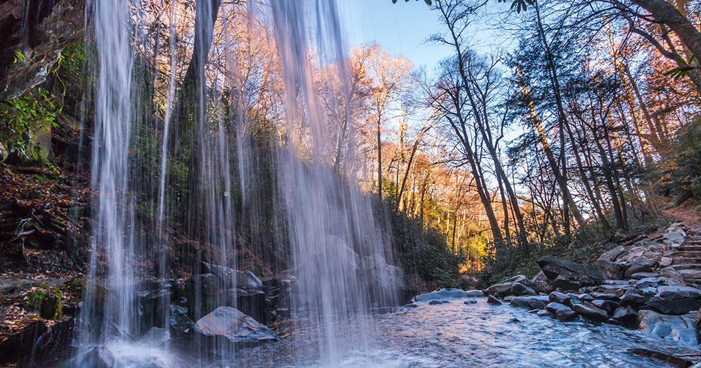 Grotto Falls at Roaring Fork inside the Great Smoky National Park (stock photo)