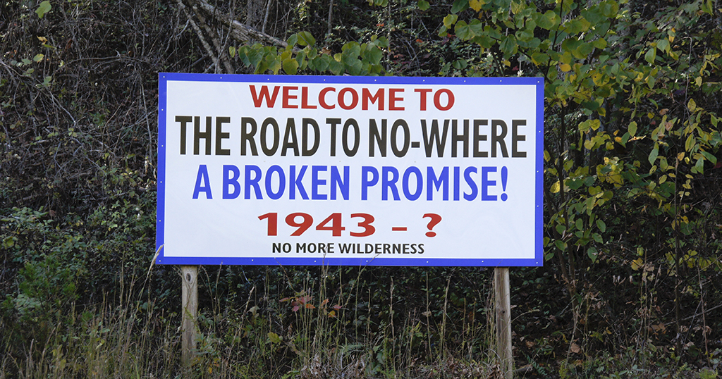 Sign for The Road to Nowhere in Swain County