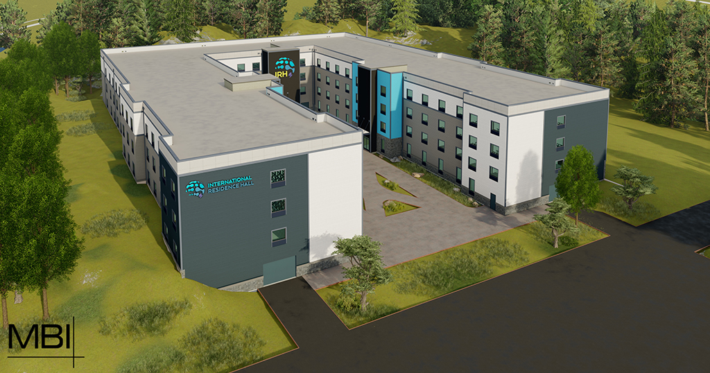 A rendering of the new residence hall