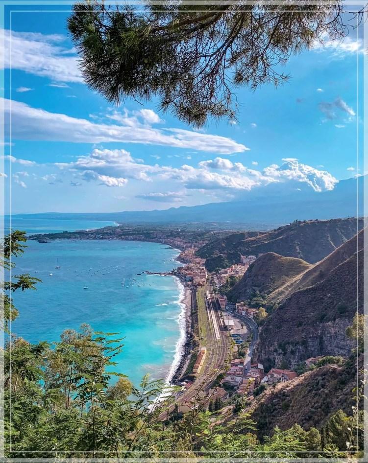 The view from Villa Comunale Di Taormina, a lush public garden