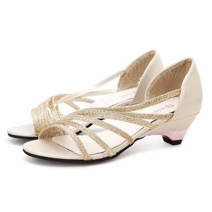 Shiny Stripe Low Heel Sandals Online