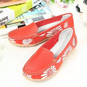 Leather Floral Print Flat Loafers Online