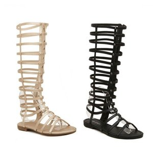 Out Knee High Flat Sandals Online