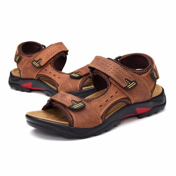 059cc1f15b782 Men Big Size Leather Hook Loop Hollow Out Outdoor Beach Sandals ...