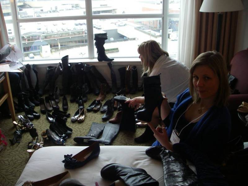 Andrea and boot at Western Canadian Shoe Association's Footwear Buying Market.