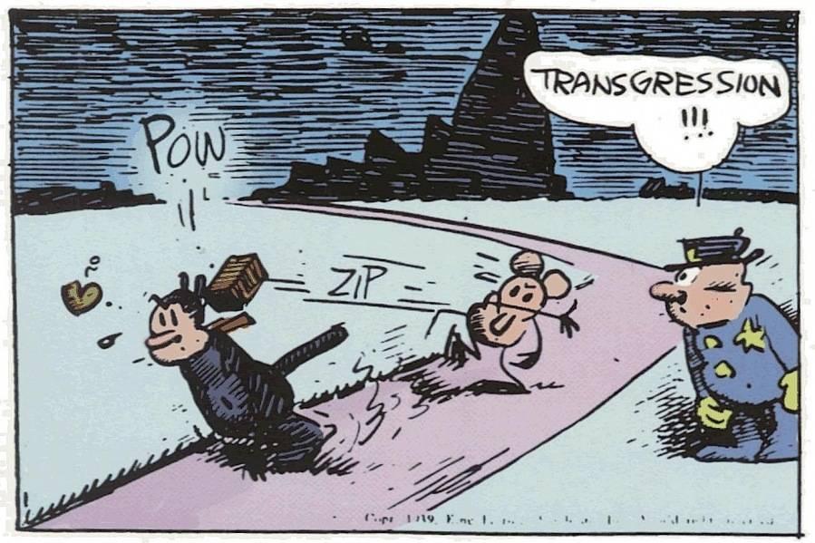 Krazy Kat and Ignatz Mouse panel by George Herriman