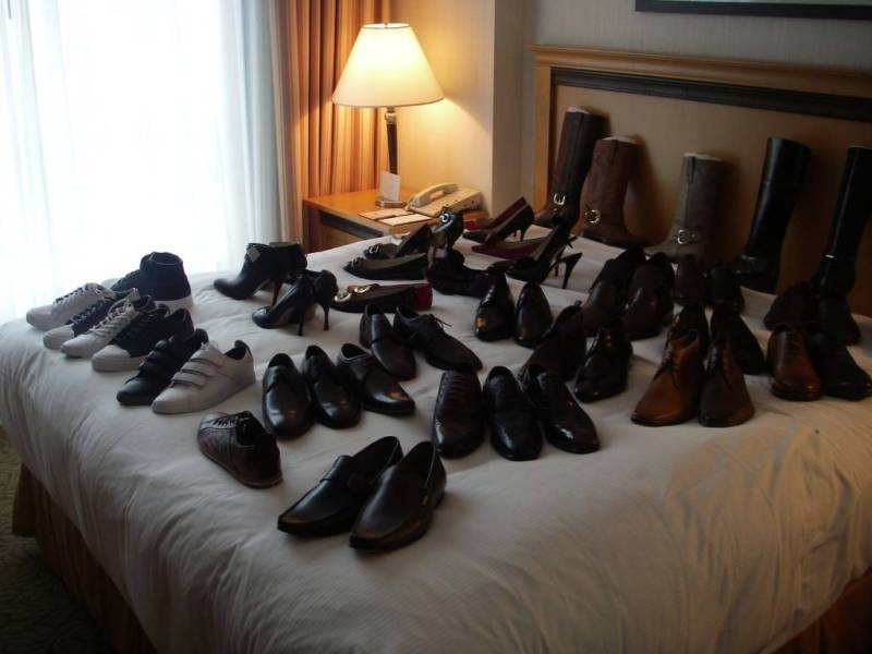 Bed of shoes