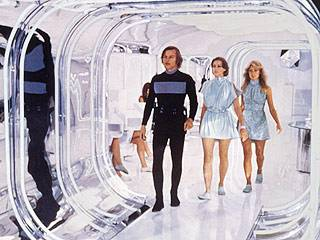 Michael York, Jenny Agutter and Farrah Fawcett in Logan's Run (1976).