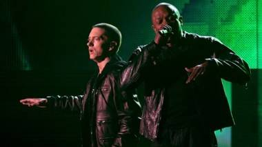 Eminem and Dr. Dre onstage during the 53rd Annual Grammy Awards, Staples Center Los Angeles, Feb 13, 2011.