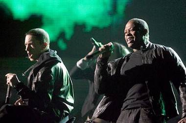 Eminem and Dr. Dre on the 53rd Annual Grammy Awards, Los Angeles, Feb 13 2011.