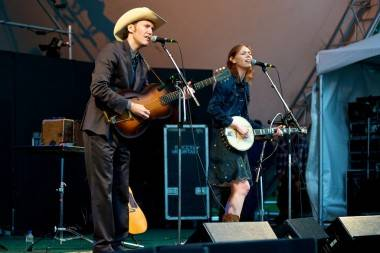 Gillian Welch with David Rawlings at the Vancouver Folk Music Festival July 15 2011. Christopher Edmonstone photo
