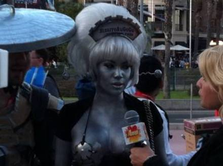 Silver girl at the 2011 San Diego Comic-Con July 22 2011.