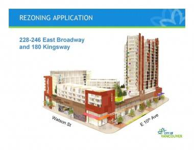 Artist's rendition of the Rize development proposal for Mount Pleasant in Vancouver.