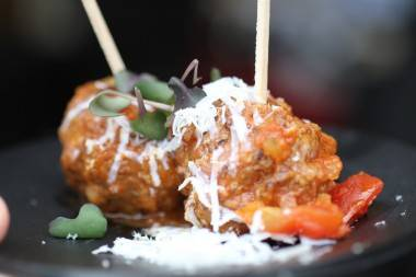 Brisket meatballs with a rustic tomato sauce photo