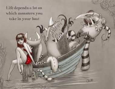 Monsters in Boat by Rebekah J. Plett