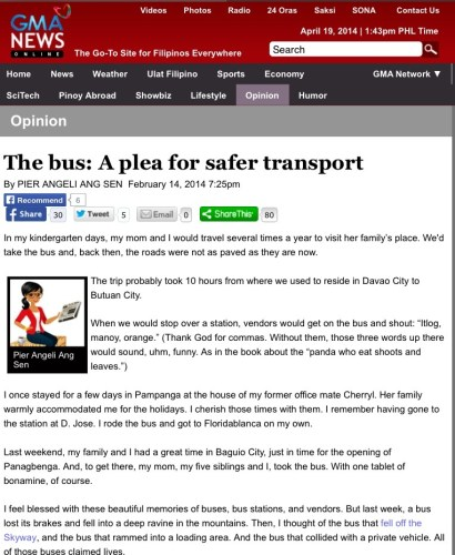 opinion on buses published on GMA 7 site