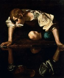 Narcissus, gazing at his own image, by Caravaggio.