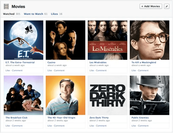 Facebook's Timeline is changing, with redesigned Interest Boxes like this one.