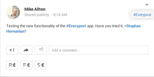 Use Everypost to post to Google+ and Mention others.