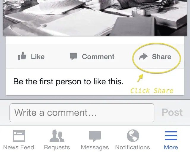 Select a Facebook post and click on Share.