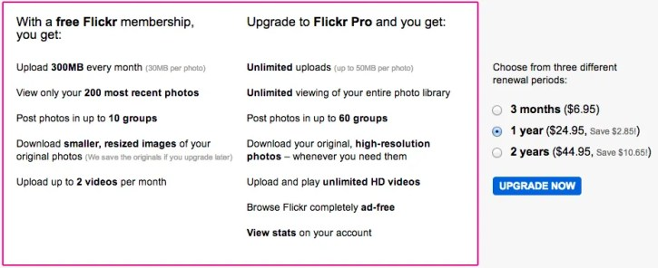 Free versus Pro Flickr Account Details
