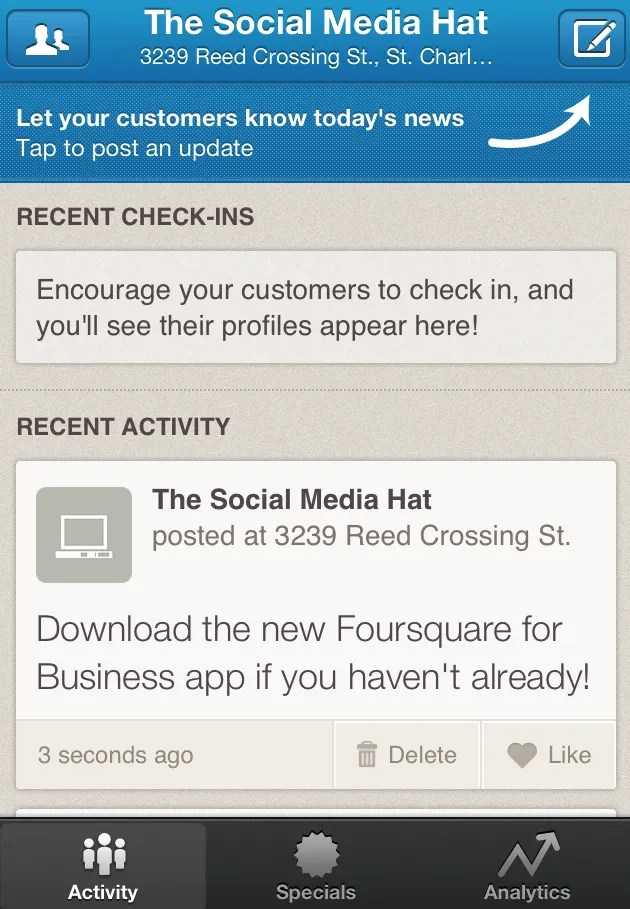 Manage Venue Activity with Foursquare for Business