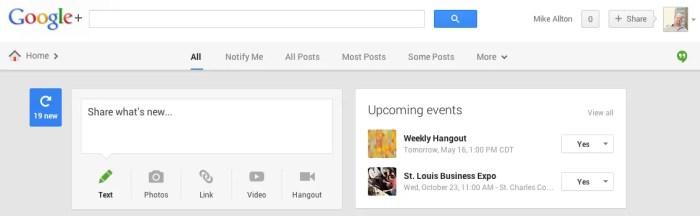 New Google+ Header