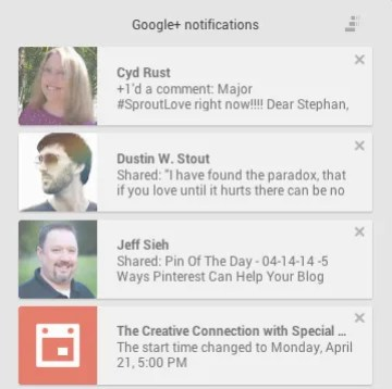 Updated Google+ Notifications