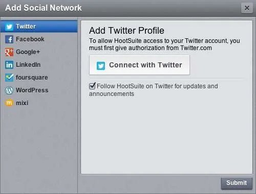 How to add social networks to HootSuite.