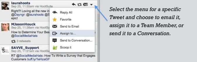 How to assign a Tweet or send it to a conversation.
