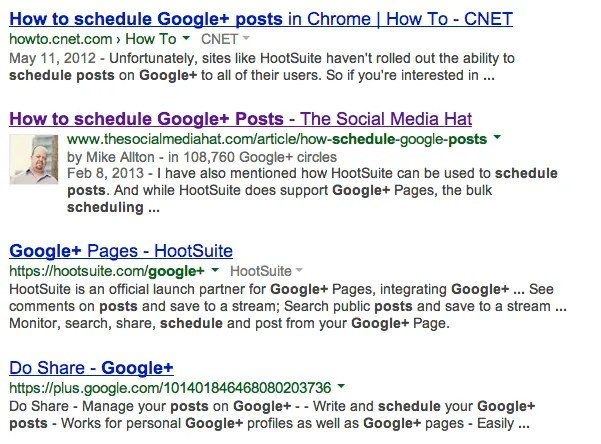 Example of a rich snippet for Google Authorship.