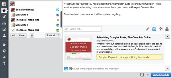 Mention Google+ users or pages using their ID within a HootSuite post.