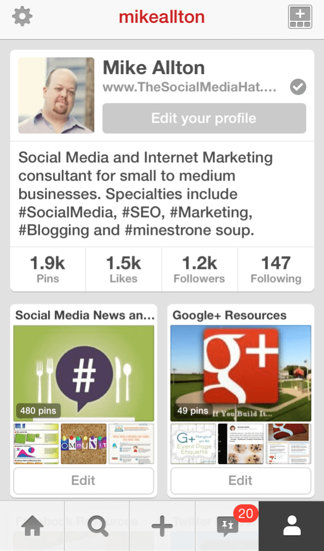 The New Pinterest Mobile Profile