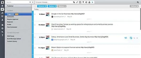 Hootsuite can now suggest content you can send out.