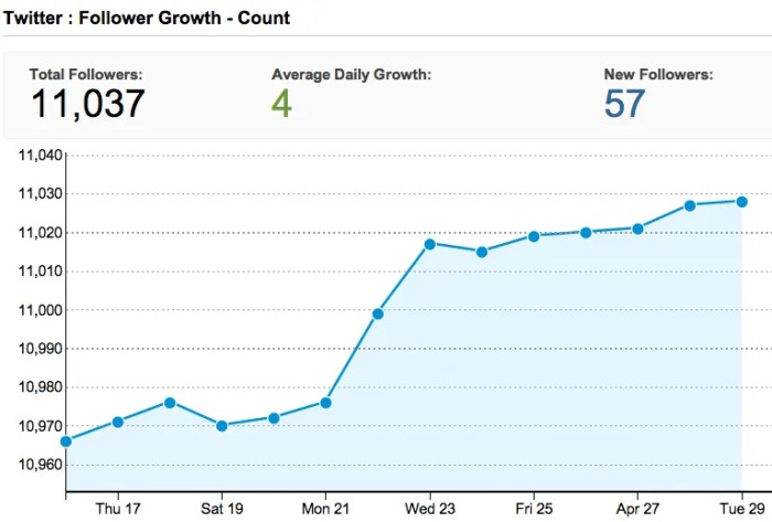 Twitter Follower Growth Chart via HootSuite Analytics