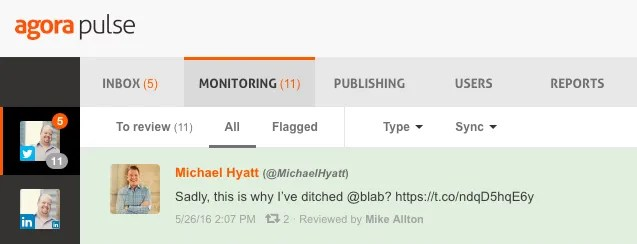 Monitoring Tweets within AgoraPulse revealed this tweet from Michael Hyatt.