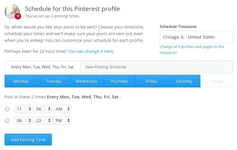 Buffer Pinterest Scheduling