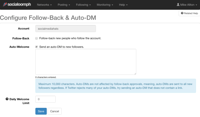 Configure Follow-Back and Auto DM within SocialOomph