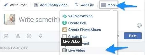 To broadcast to your group from desktop, open the Group in Facebook and click on the More menu for a new status update.