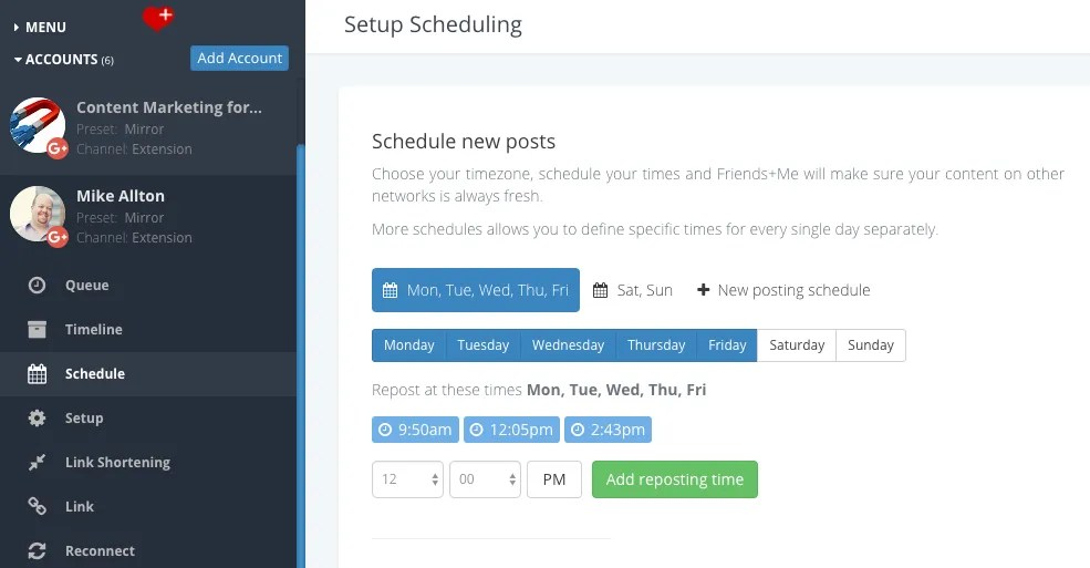 Schedule posts to Google+ profiles, communities, collections and pages.