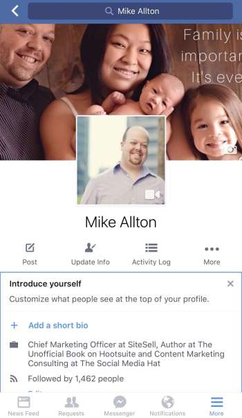 Facebook's New Look for Mobile Profiles